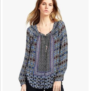 Lucky Brand Gypsy Ikat Peasant Top SIZE L